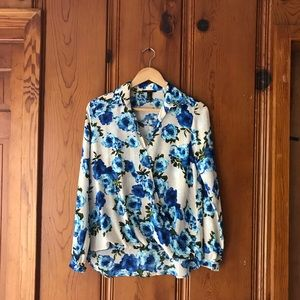 Tops - Floral Wrapover Blouse